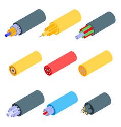 Optical fiber icons set isometric style vector