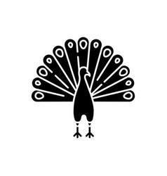 Peacock black glyph icon vector