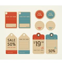Price tags retro color design vector
