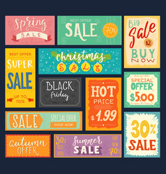 price tags sales stickers discount promotion sign vector image