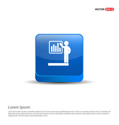 progress chart icon - 3d blue button vector image