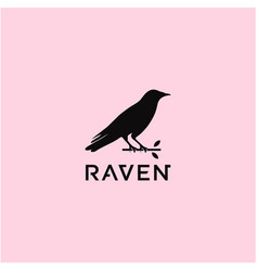 raven silhouette logo design vector image