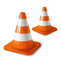 Realistic - orange road cones with stripes vector image