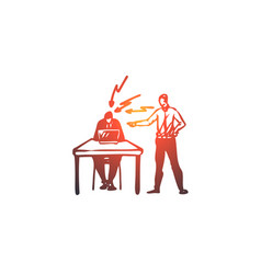 scold boss work employee office concept hand vector image