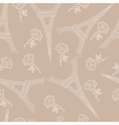 Seamless brown pattern with eiffel tower vector image