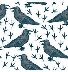 Seamless pattern with black crows vector