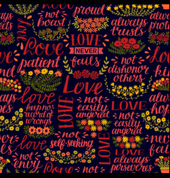 Seamless pattern with hand lettering words love vector