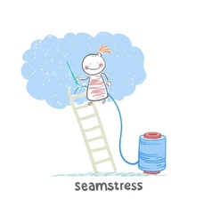 Seamstress standing on a ladder and sews cloud vector