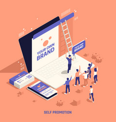 Self branding promotion isometric composition vector