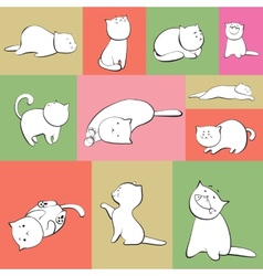 Set cats in boxes vector