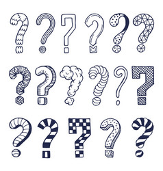 set drawn question marks in different styles vector image