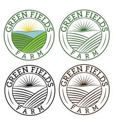 Set emblems green fields farm vector