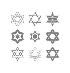 set of monochrome icons with star of David vector image
