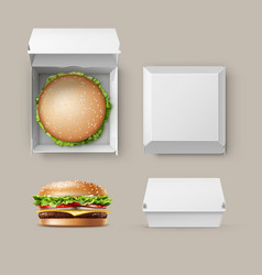 set of realistic container fwith hamburger vector image