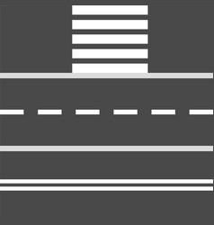 set road stretch and crosswalk design elements vector image