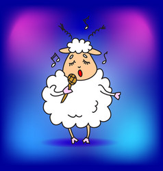 Sheep with a microphone sings a song in a vector