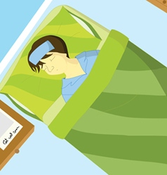 Sick boy sleep on the bed vector image