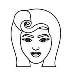 Silhouette drawing of face woman with pin up swirl vector