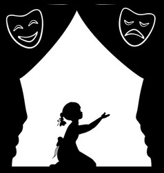 silhouette girl plays the stage world theatre day vector image