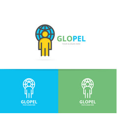simple man with the planet logo design template vector image