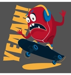 skater monster Stunts on a skateboard vector image