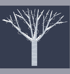 Snowy tree with garlands isolated winter time vector