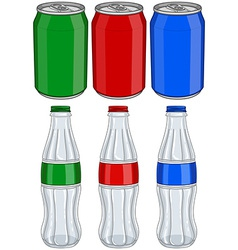 Soda Cola Aluminium Cans Glass Bottles Three vector image