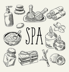Spa wellness beauty hand drawn doodle vector
