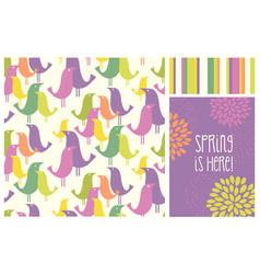 spring mid-century modern birds seamless pattern vector image