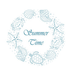 Summer card with shells vector