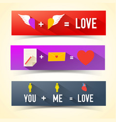 three love banner set vector image