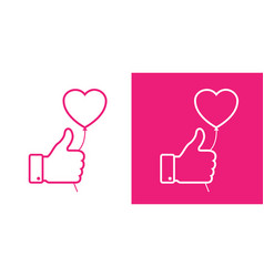 thumb up linear icon with pink heart balloon vector image