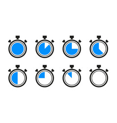 Timer clock stopwatch collection isolated on white vector