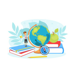 tiny boy girl studying with huge school supplies vector image