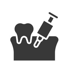 Tooth gums with anesthesia syringe dental related vector
