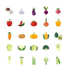 Vegetable veggies colorful flat icons set vector