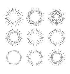 vintage sunburst explosion hand drawn vector image