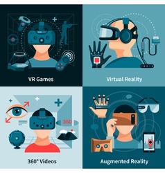 Virtual Reality Flat Concept vector
