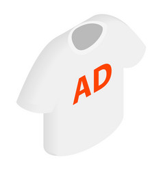 White T-shirt with AD letters icon vector