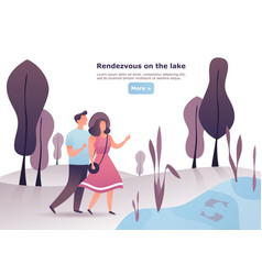 woman and man at wood or forest date rendezvous vector image