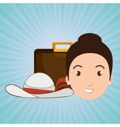 woman bag travel hat vector image