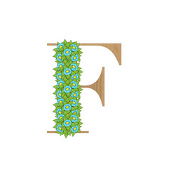 wooden leaves letter f vector image