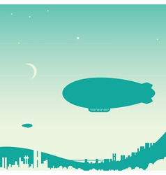airship over city vector image
