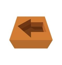 Arrow in cardboard box icon vector image vector image