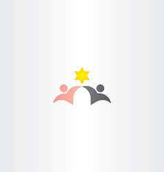 black and white man friends star logo icon vector image