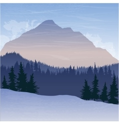 Mountain landscape with fir trees vector
