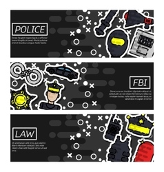 Set of Horizontal Banners about police vector image