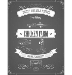 Chicken Farm Vintage Advertisement Poster vector image vector image