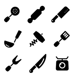 black kitchen and cooking icons set vector image vector image