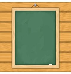 Blackboard on wooden wall vector image vector image